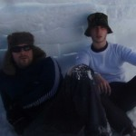 Rob Cowen and Leo Critchley inside their igloo